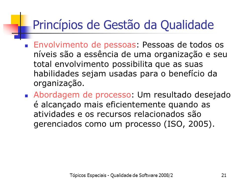 Tópicos Especiais - Qualidade de Software 2008/221 Princípios de Gestão da Qualidade Envolvimento de pessoas: Pessoas de todos os níveis são a essênci