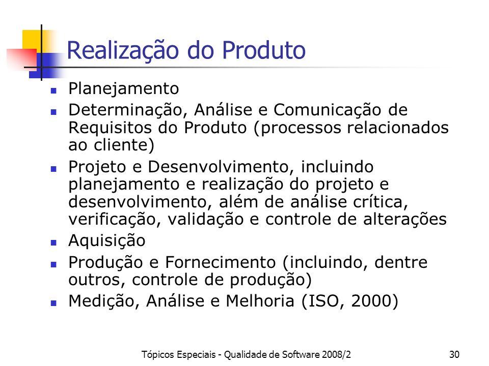 Tópicos Especiais - Qualidade de Software 2008/230 Realização do Produto Planejamento Determinação, Análise e Comunicação de Requisitos do Produto (pr