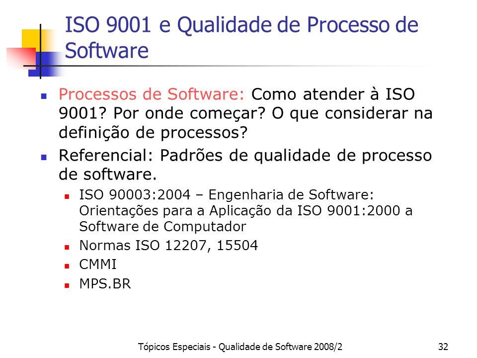 Tópicos Especiais - Qualidade de Software 2008/232 ISO 9001 e Qualidade de Processo de Software Processos de Software: Como atender à ISO 9001? Por on