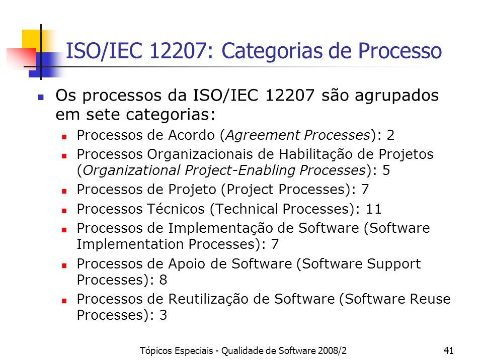 Tópicos Especiais - Qualidade de Software 2008/241 ISO/IEC 12207: Categorias de Processo Os processos da ISO/IEC 12207 são agrupados em sete categoria