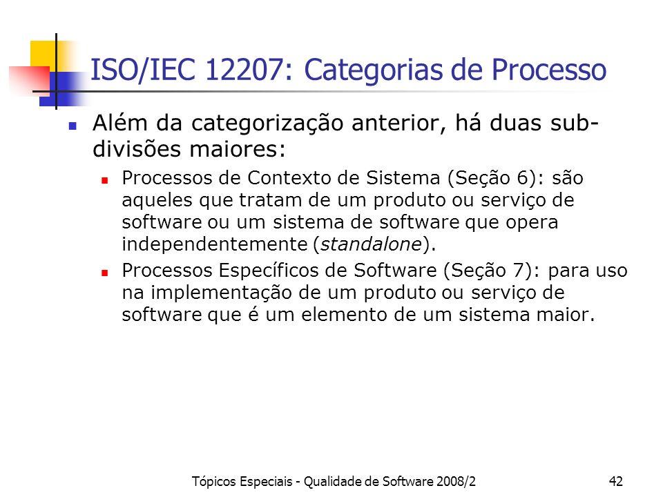Tópicos Especiais - Qualidade de Software 2008/242 ISO/IEC 12207: Categorias de Processo Além da categorização anterior, há duas sub- divisões maiores