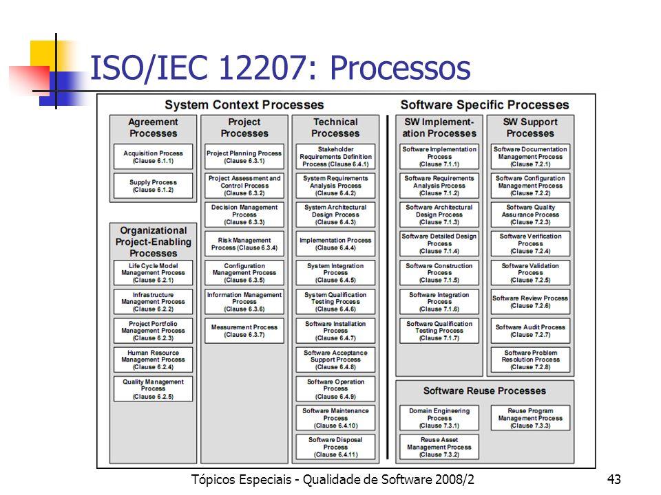 Tópicos Especiais - Qualidade de Software 2008/243 ISO/IEC 12207: Processos