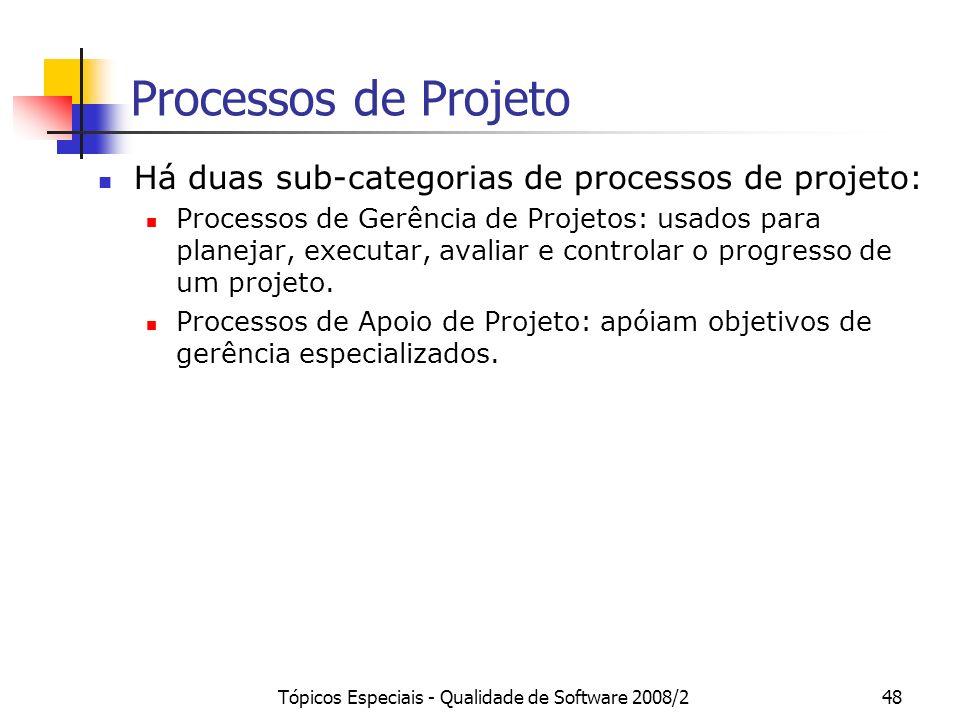Tópicos Especiais - Qualidade de Software 2008/248 Processos de Projeto Há duas sub-categorias de processos de projeto: Processos de Gerência de Proje