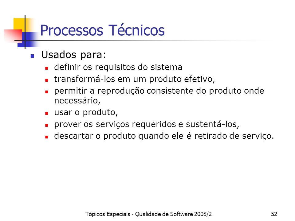 Tópicos Especiais - Qualidade de Software 2008/252 Processos Técnicos Usados para: definir os requisitos do sistema transformá-los em um produto efeti