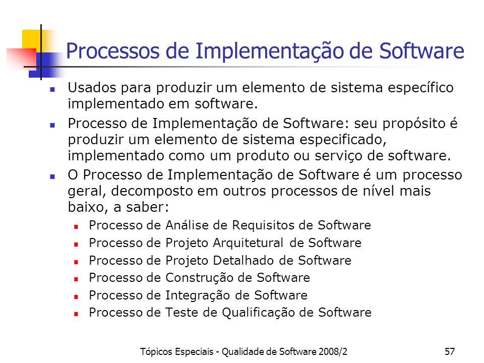 Tópicos Especiais - Qualidade de Software 2008/257 Processos de Implementação de Software Usados para produzir um elemento de sistema específico imple