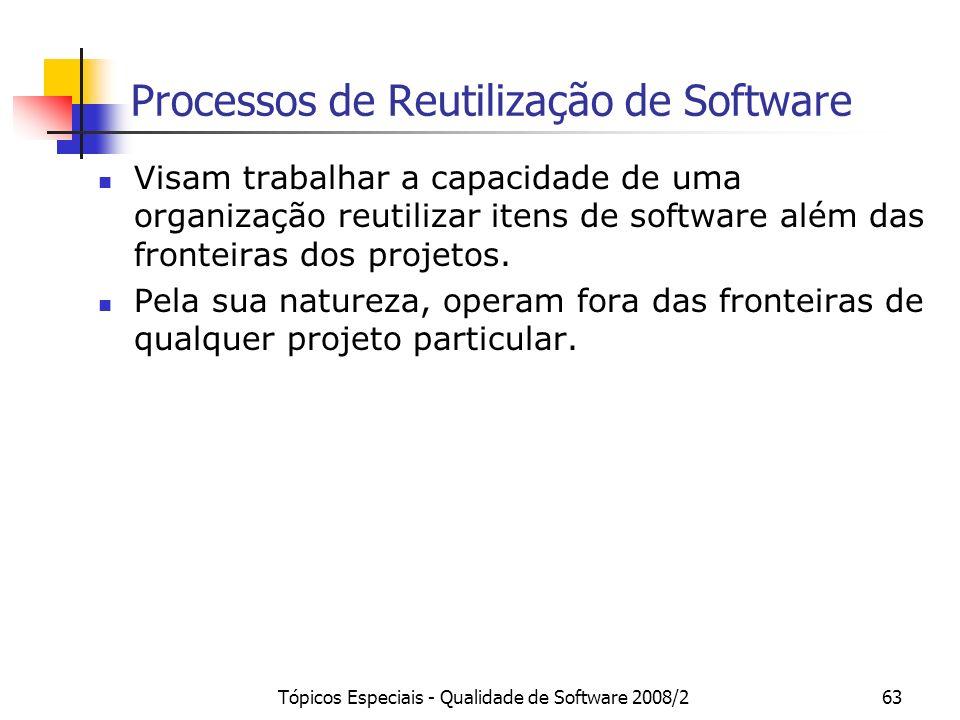 Tópicos Especiais - Qualidade de Software 2008/263 Processos de Reutilização de Software Visam trabalhar a capacidade de uma organização reutilizar it