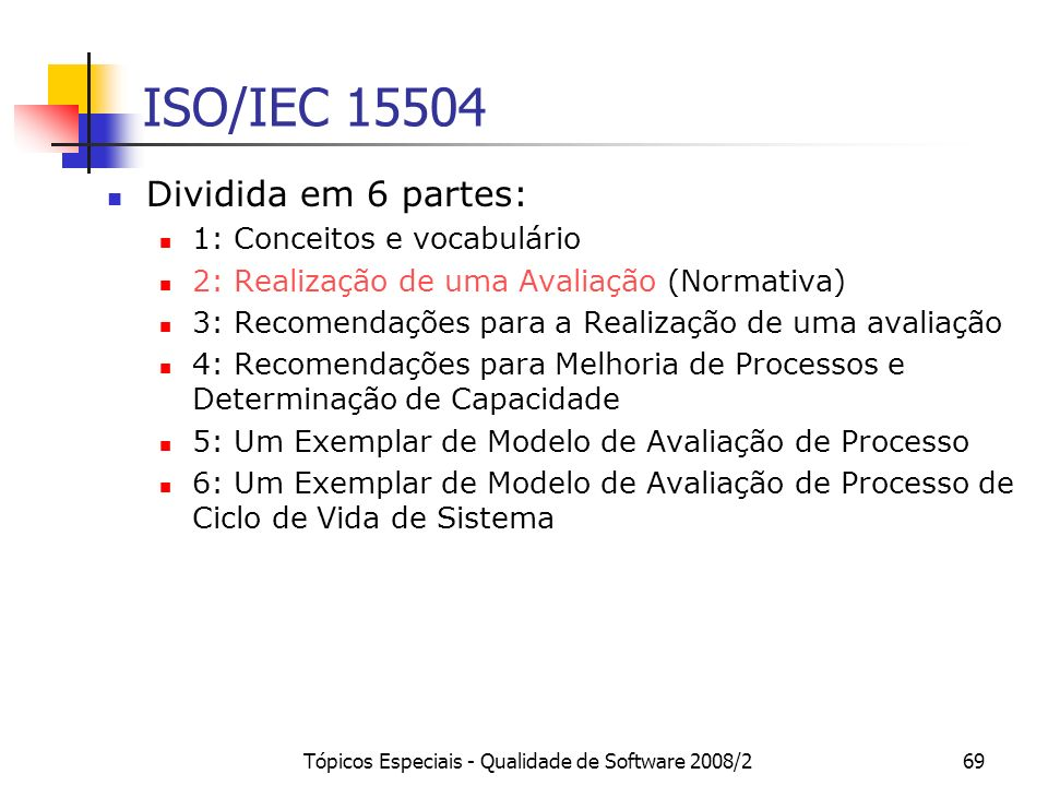 Tópicos Especiais - Qualidade de Software 2008/269 ISO/IEC 15504 Dividida em 6 partes: 1: Conceitos e vocabulário 2: Realização de uma Avaliação (Norm
