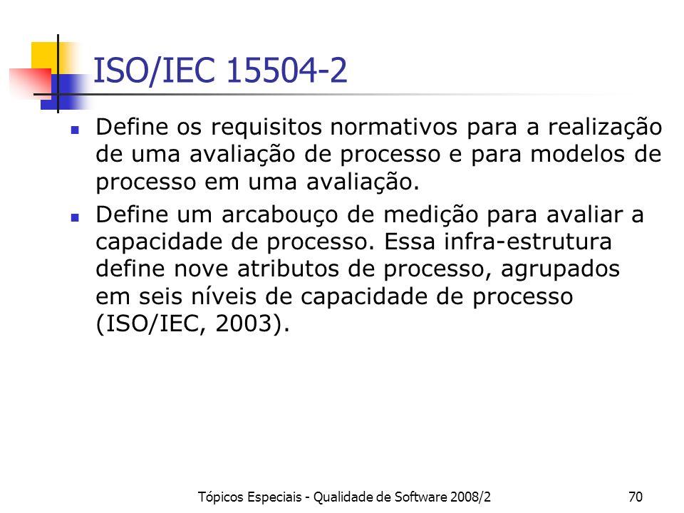 Tópicos Especiais - Qualidade de Software 2008/270 ISO/IEC 15504-2 Define os requisitos normativos para a realização de uma avaliação de processo e pa