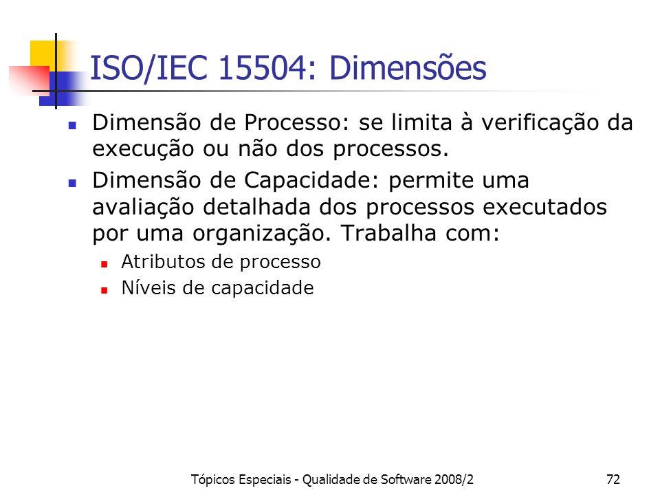 Tópicos Especiais - Qualidade de Software 2008/272 ISO/IEC 15504: Dimensões Dimensão de Processo: se limita à verificação da execução ou não dos proce