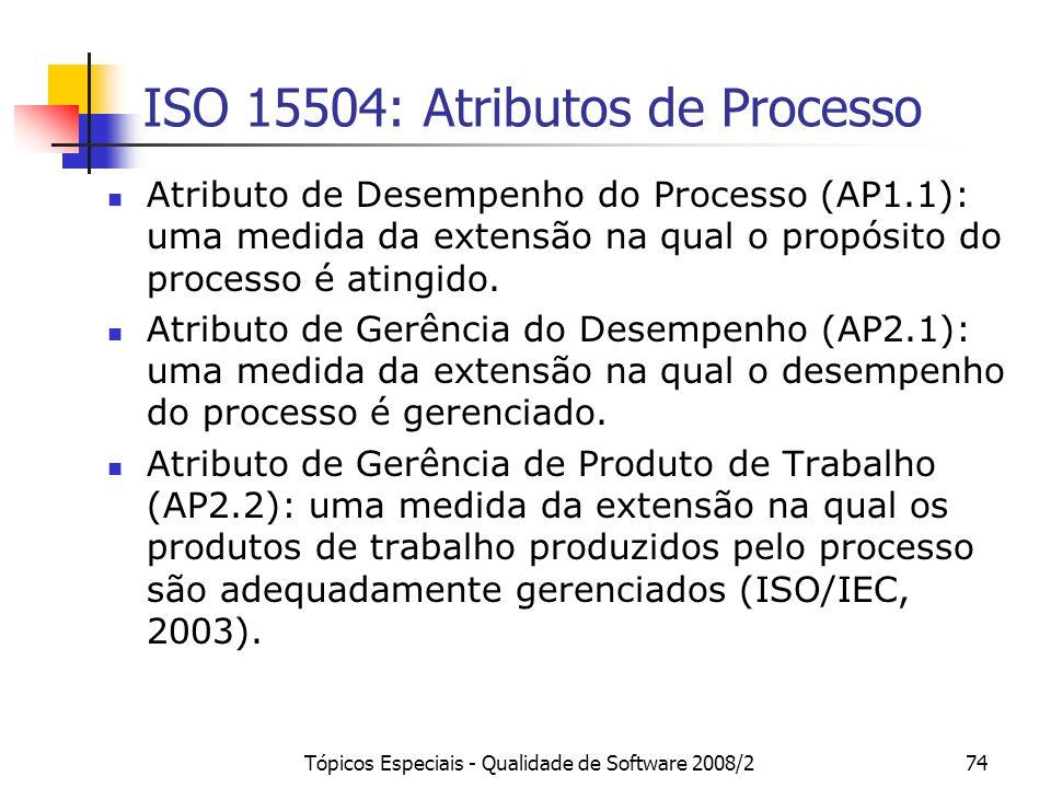 Tópicos Especiais - Qualidade de Software 2008/274 ISO 15504: Atributos de Processo Atributo de Desempenho do Processo (AP1.1): uma medida da extensão