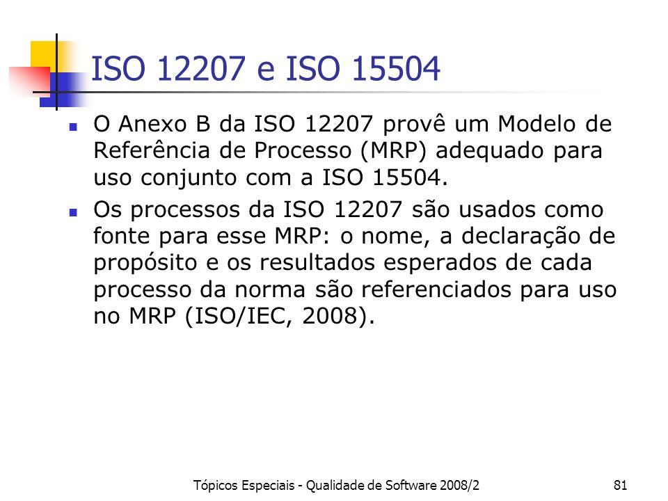 Tópicos Especiais - Qualidade de Software 2008/281 ISO 12207 e ISO 15504 O Anexo B da ISO 12207 provê um Modelo de Referência de Processo (MRP) adequa
