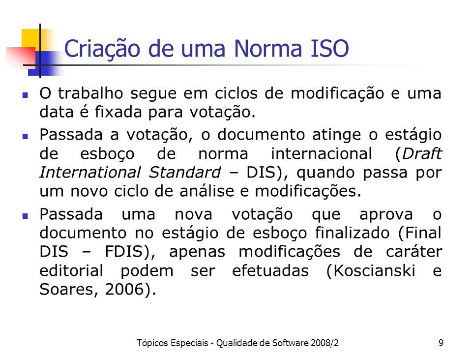 Tópicos Especiais - Qualidade de Software 2008/29 Criação de uma Norma ISO O trabalho segue em ciclos de modificação e uma data é fixada para votação.