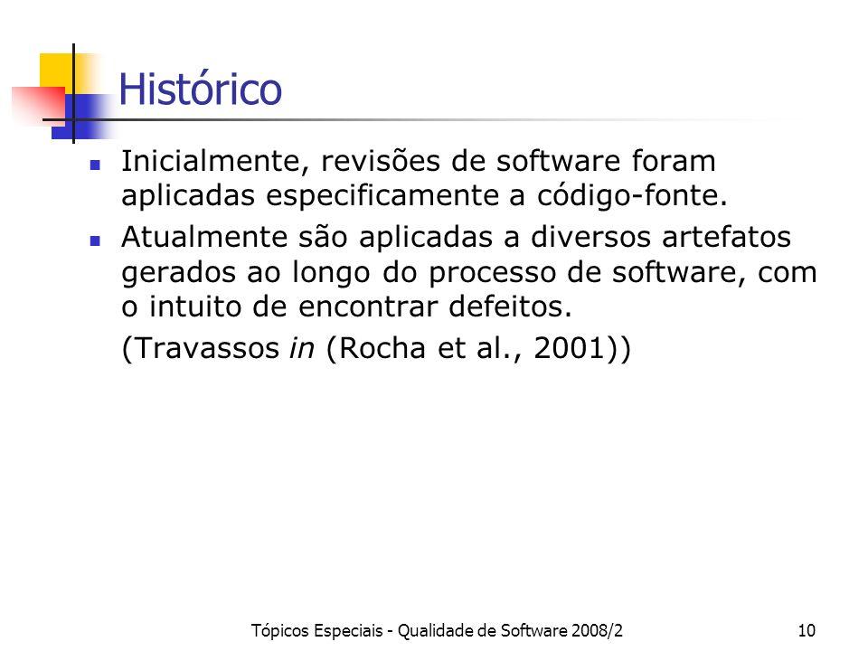 Tópicos Especiais - Qualidade de Software 2008/210 Histórico Inicialmente, revisões de software foram aplicadas especificamente a código-fonte. Atualm