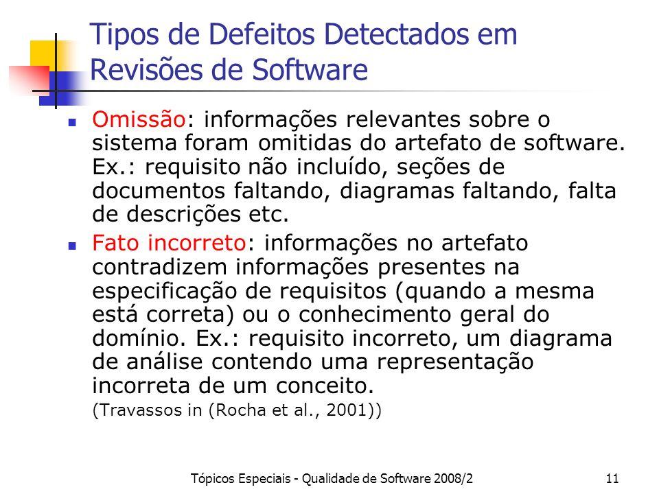 Tópicos Especiais - Qualidade de Software 2008/211 Tipos de Defeitos Detectados em Revisões de Software Omissão: informações relevantes sobre o sistem