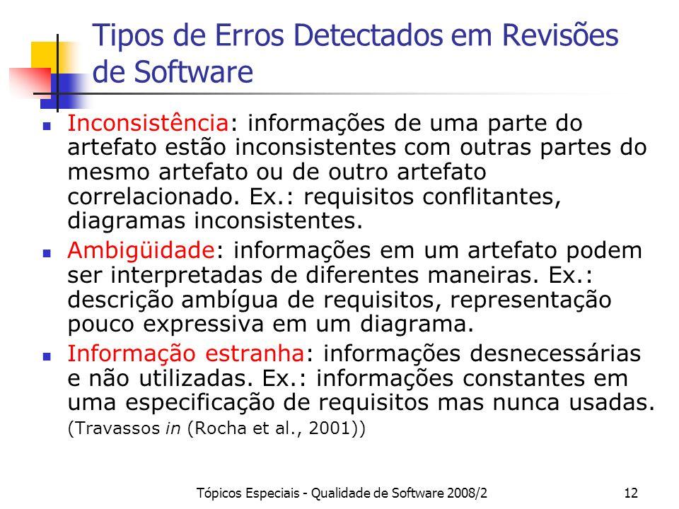 Tópicos Especiais - Qualidade de Software 2008/212 Tipos de Erros Detectados em Revisões de Software Inconsistência: informações de uma parte do artef