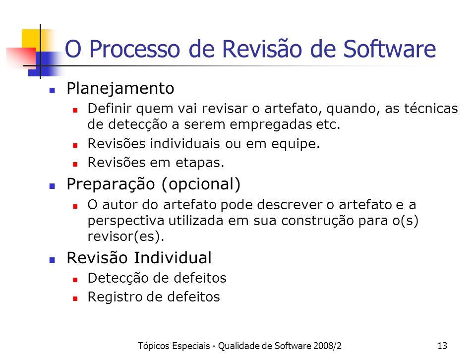 Tópicos Especiais - Qualidade de Software 2008/213 O Processo de Revisão de Software Planejamento Definir quem vai revisar o artefato, quando, as técn