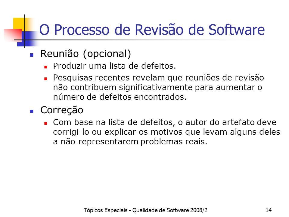 Tópicos Especiais - Qualidade de Software 2008/214 O Processo de Revisão de Software Reunião (opcional) Produzir uma lista de defeitos. Pesquisas rece