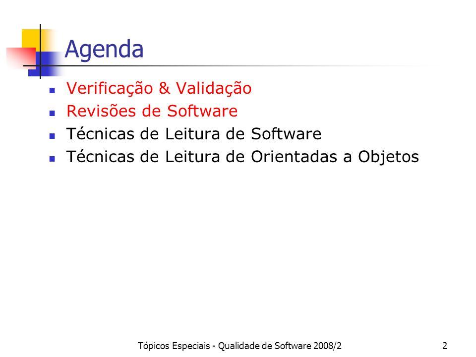 Tópicos Especiais - Qualidade de Software 2008/22 Agenda Verificação & Validação Revisões de Software Técnicas de Leitura de Software Técnicas de Leit