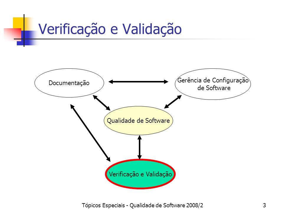 Tópicos Especiais - Qualidade de Software 2008/23 Verificação e Validação Qualidade de Software Documentação Gerência de Configuração de Software Veri
