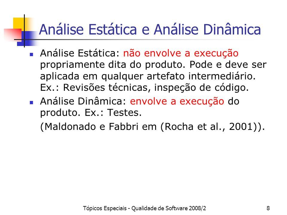 Tópicos Especiais - Qualidade de Software 2008/28 Análise Estática e Análise Dinâmica Análise Estática: não envolve a execução propriamente dita do pr