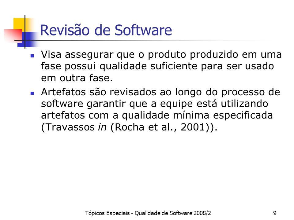 Tópicos Especiais - Qualidade de Software 2008/29 Revisão de Software Visa assegurar que o produto produzido em uma fase possui qualidade suficiente p