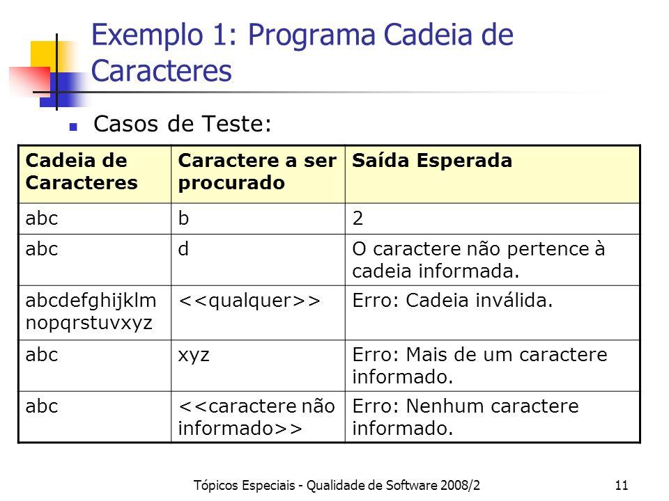 Tópicos Especiais - Qualidade de Software 2008/211 Exemplo 1: Programa Cadeia de Caracteres Casos de Teste: Cadeia de Caracteres Caractere a ser procurado Saída Esperada abcb2 dO caractere não pertence à cadeia informada.