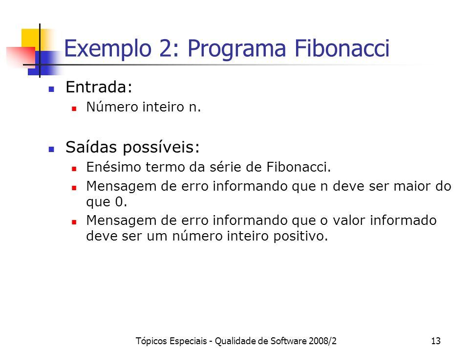Tópicos Especiais - Qualidade de Software 2008/213 Exemplo 2: Programa Fibonacci Entrada: Número inteiro n.