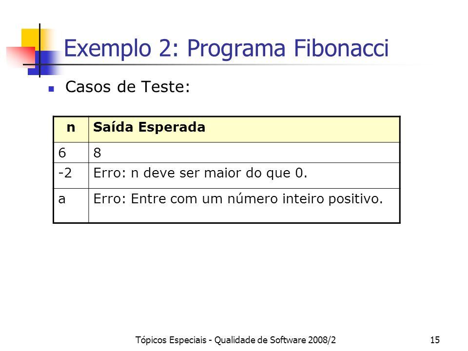 Tópicos Especiais - Qualidade de Software 2008/215 Exemplo 2: Programa Fibonacci Casos de Teste: nSaída Esperada 68 -2Erro: n deve ser maior do que 0.