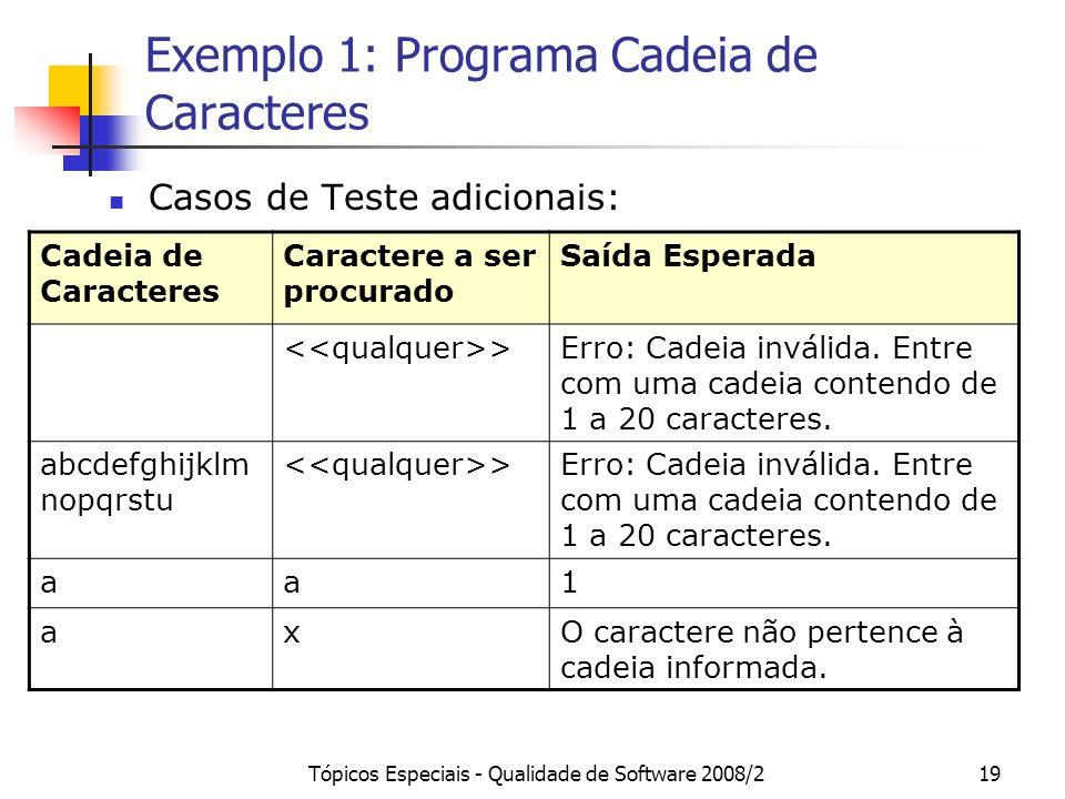 Tópicos Especiais - Qualidade de Software 2008/219 Exemplo 1: Programa Cadeia de Caracteres Casos de Teste adicionais: Cadeia de Caracteres Caractere a ser procurado Saída Esperada >Erro: Cadeia inválida.