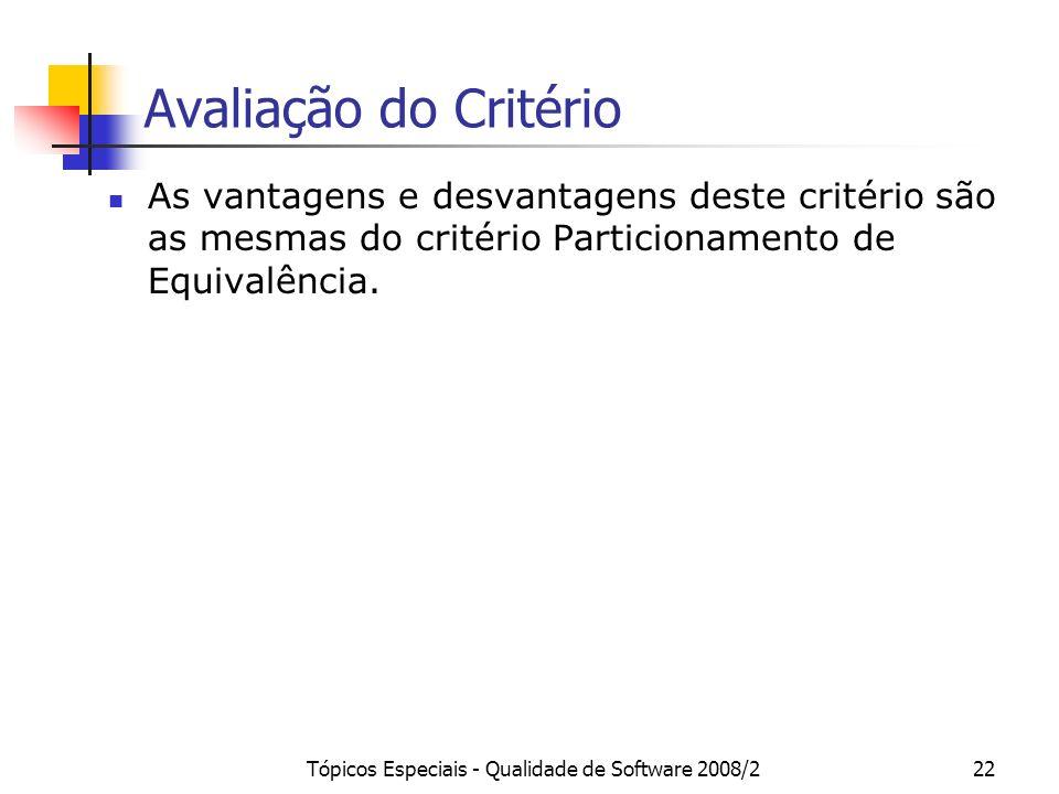 Tópicos Especiais - Qualidade de Software 2008/222 Avaliação do Critério As vantagens e desvantagens deste critério são as mesmas do critério Particionamento de Equivalência.