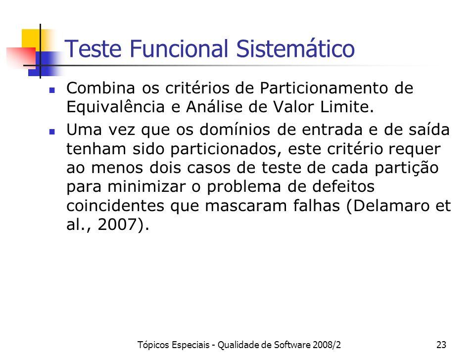 Tópicos Especiais - Qualidade de Software 2008/223 Teste Funcional Sistemático Combina os critérios de Particionamento de Equivalência e Análise de Valor Limite.