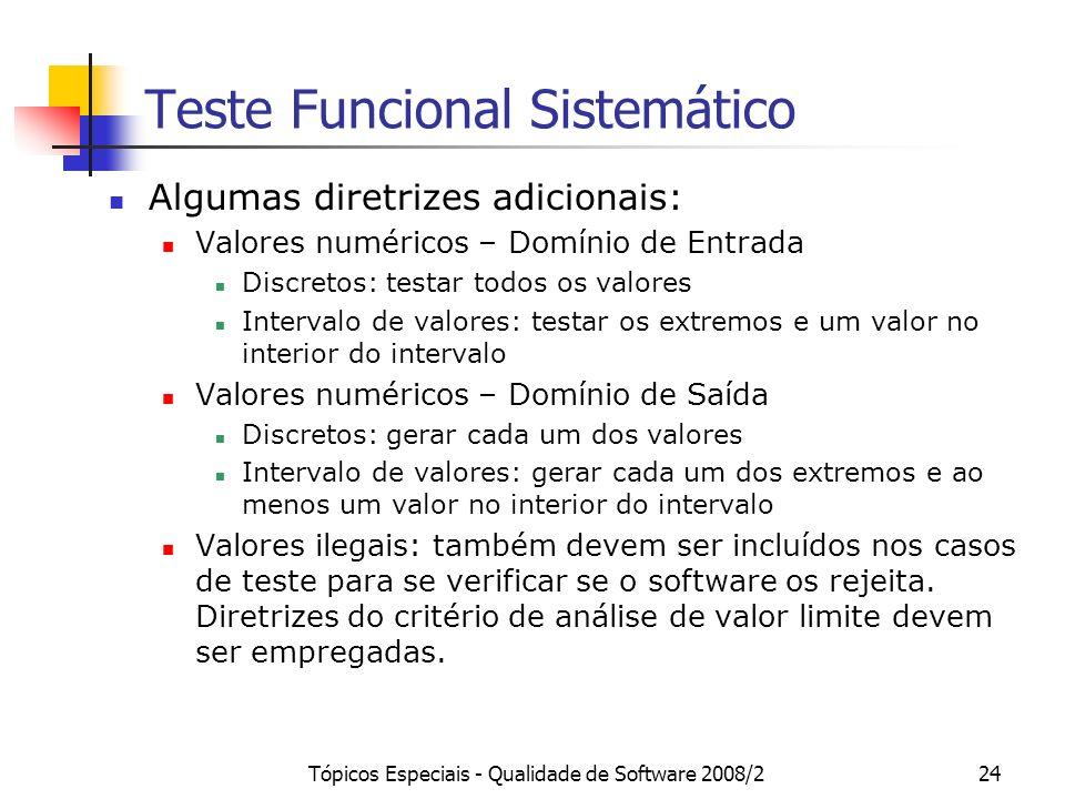 Tópicos Especiais - Qualidade de Software 2008/224 Teste Funcional Sistemático Algumas diretrizes adicionais: Valores numéricos – Domínio de Entrada Discretos: testar todos os valores Intervalo de valores: testar os extremos e um valor no interior do intervalo Valores numéricos – Domínio de Saída Discretos: gerar cada um dos valores Intervalo de valores: gerar cada um dos extremos e ao menos um valor no interior do intervalo Valores ilegais: também devem ser incluídos nos casos de teste para se verificar se o software os rejeita.