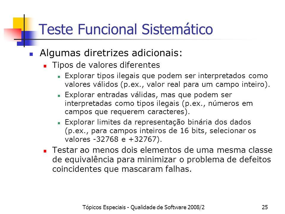 Tópicos Especiais - Qualidade de Software 2008/225 Teste Funcional Sistemático Algumas diretrizes adicionais: Tipos de valores diferentes Explorar tipos ilegais que podem ser interpretados como valores válidos (p.ex., valor real para um campo inteiro).