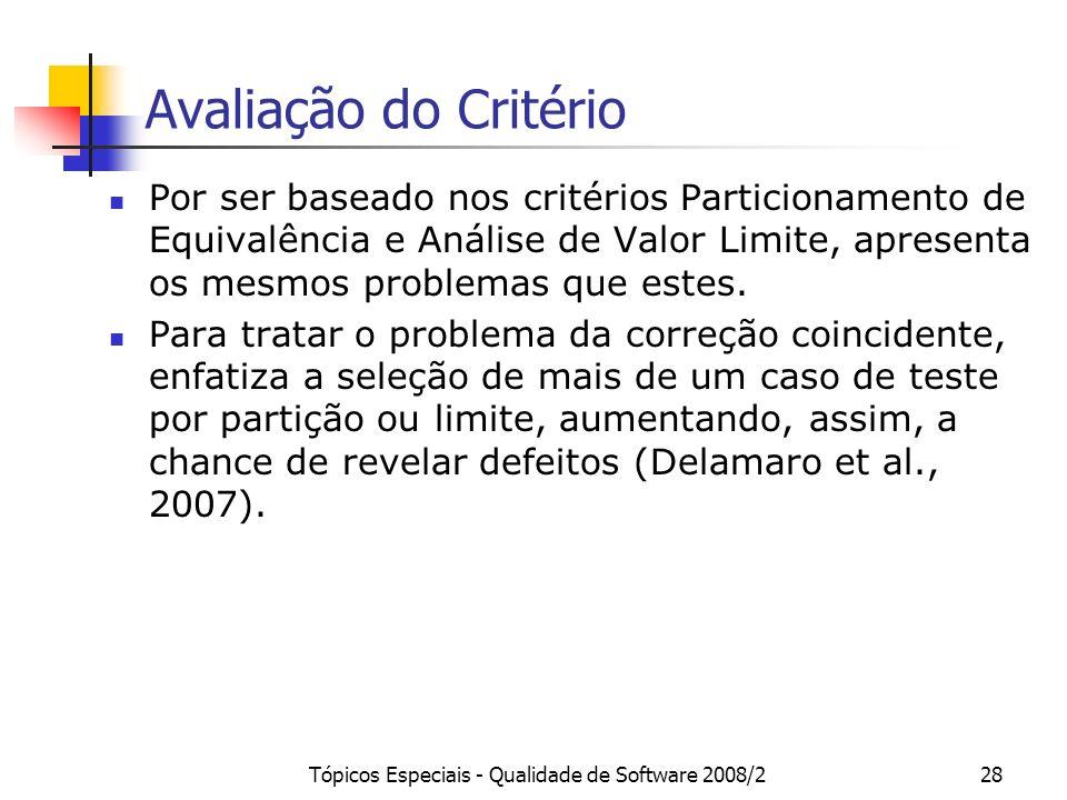 Tópicos Especiais - Qualidade de Software 2008/228 Avaliação do Critério Por ser baseado nos critérios Particionamento de Equivalência e Análise de Valor Limite, apresenta os mesmos problemas que estes.