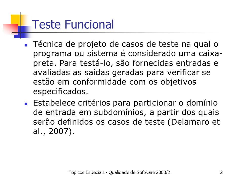 Tópicos Especiais - Qualidade de Software 2008/23 Teste Funcional Técnica de projeto de casos de teste na qual o programa ou sistema é considerado uma caixa- preta.