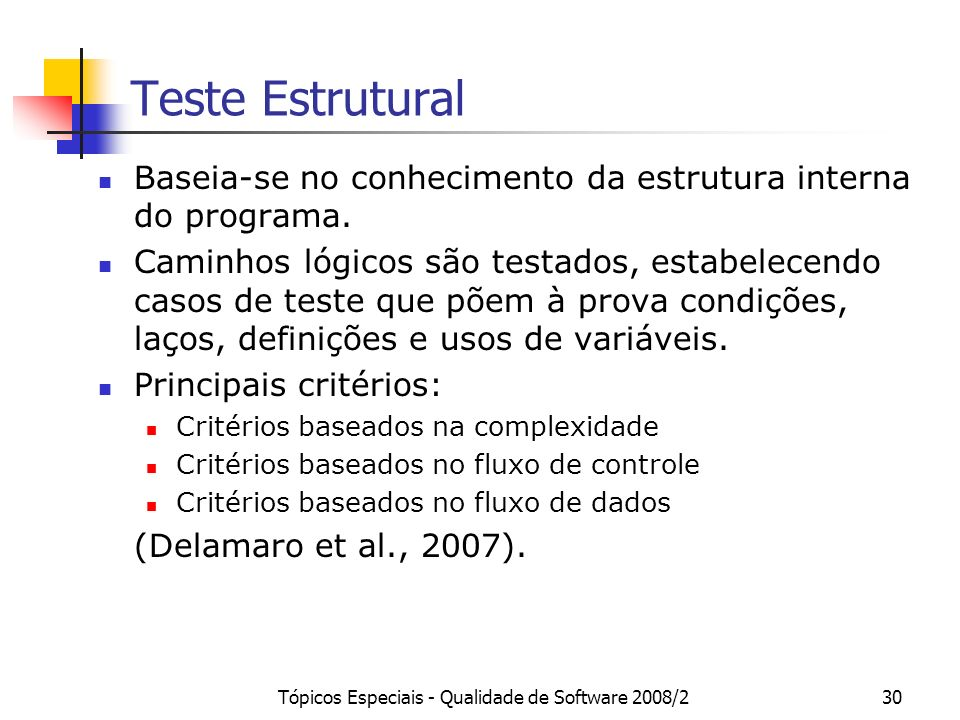Tópicos Especiais - Qualidade de Software 2008/230 Teste Estrutural Baseia-se no conhecimento da estrutura interna do programa.