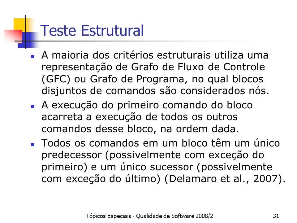 Tópicos Especiais - Qualidade de Software 2008/231 Teste Estrutural A maioria dos critérios estruturais utiliza uma representação de Grafo de Fluxo de Controle (GFC) ou Grafo de Programa, no qual blocos disjuntos de comandos são considerados nós.