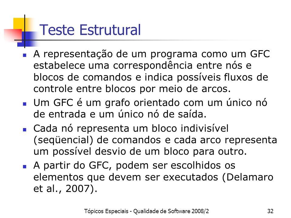 Tópicos Especiais - Qualidade de Software 2008/232 Teste Estrutural A representação de um programa como um GFC estabelece uma correspondência entre nós e blocos de comandos e indica possíveis fluxos de controle entre blocos por meio de arcos.