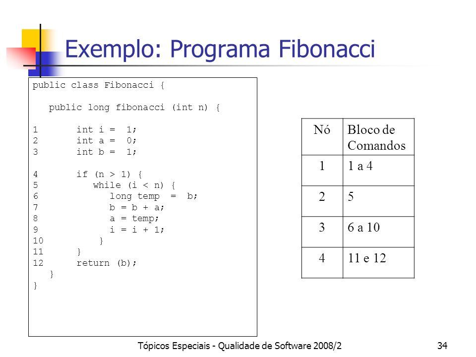 Tópicos Especiais - Qualidade de Software 2008/234 Exemplo: Programa Fibonacci NóBloco de Comandos 11 a 4 25 36 a 10 411 e 12 public class Fibonacci { public long fibonacci (int n) { 1 int i = 1; 2 int a = 0; 3 int b = 1; 4 if (n > 1) { 5 while (i < n) { 6 long temp = b; 7 b = b + a; 8 a = temp; 9 i = i + 1; 10 } 11 } 12 return (b); }