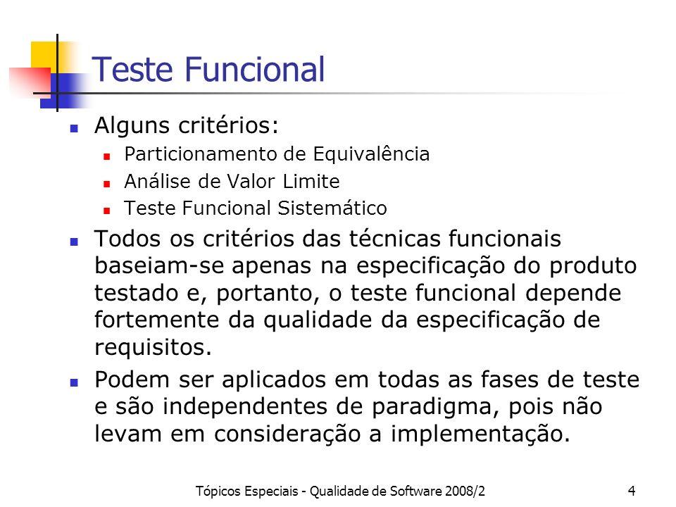 Tópicos Especiais - Qualidade de Software 2008/24 Teste Funcional Alguns critérios: Particionamento de Equivalência Análise de Valor Limite Teste Funcional Sistemático Todos os critérios das técnicas funcionais baseiam-se apenas na especificação do produto testado e, portanto, o teste funcional depende fortemente da qualidade da especificação de requisitos.