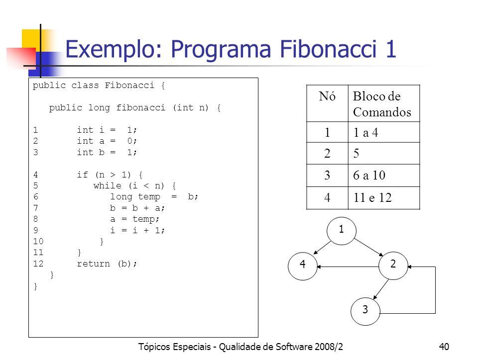 Tópicos Especiais - Qualidade de Software 2008/240 Exemplo: Programa Fibonacci 1 NóBloco de Comandos 11 a 4 25 36 a 10 411 e 12 public class Fibonacci { public long fibonacci (int n) { 1 int i = 1; 2 int a = 0; 3 int b = 1; 4 if (n > 1) { 5 while (i < n) { 6 long temp = b; 7 b = b + a; 8 a = temp; 9 i = i + 1; 10 } 11 } 12 return (b); } 1 2 4 3