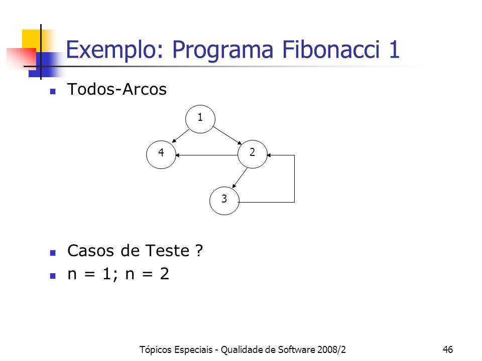 Tópicos Especiais - Qualidade de Software 2008/246 Exemplo: Programa Fibonacci 1 Todos-Arcos Casos de Teste .