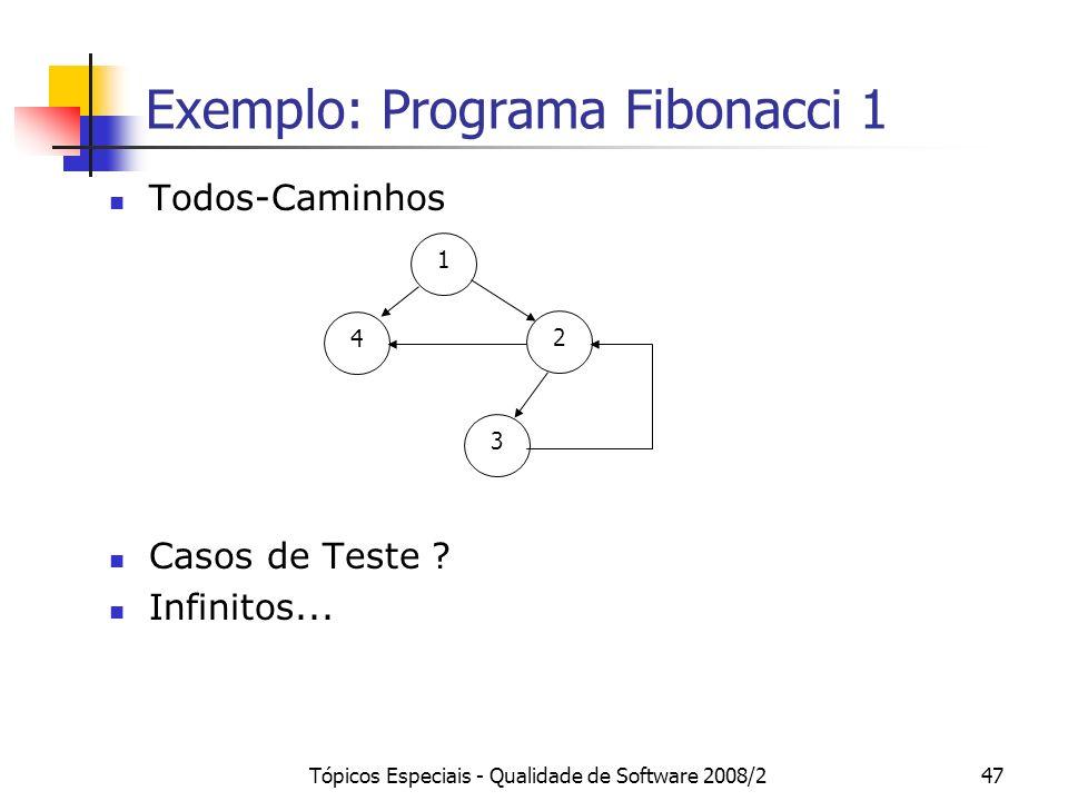 Tópicos Especiais - Qualidade de Software 2008/247 Exemplo: Programa Fibonacci 1 Todos-Caminhos Casos de Teste .