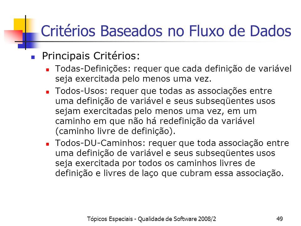 Tópicos Especiais - Qualidade de Software 2008/249 Critérios Baseados no Fluxo de Dados Principais Critérios: Todas-Definições: requer que cada definição de variável seja exercitada pelo menos uma vez.