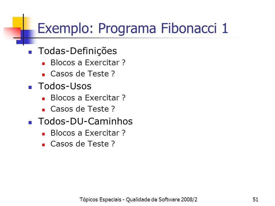Tópicos Especiais - Qualidade de Software 2008/251 Exemplo: Programa Fibonacci 1 Todas-Definições Blocos a Exercitar .