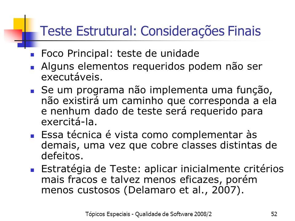 Tópicos Especiais - Qualidade de Software 2008/252 Teste Estrutural: Considerações Finais Foco Principal: teste de unidade Alguns elementos requeridos podem não ser executáveis.