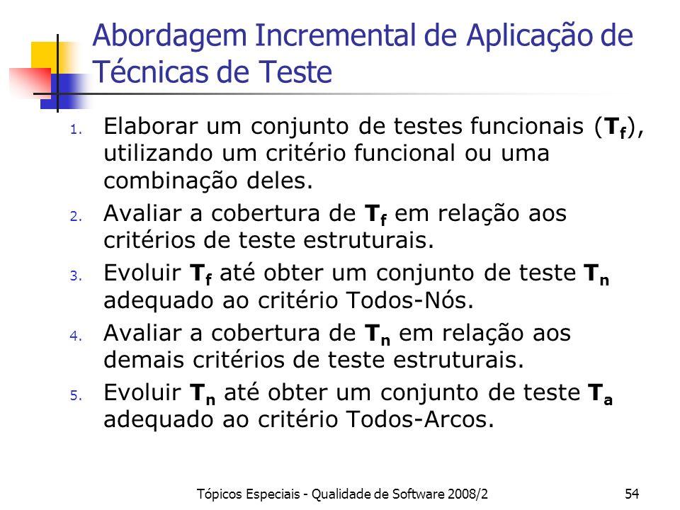 Tópicos Especiais - Qualidade de Software 2008/254 Abordagem Incremental de Aplicação de Técnicas de Teste 1.