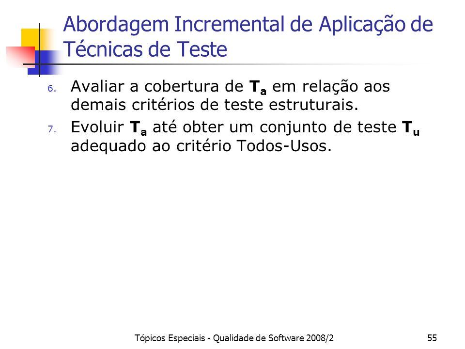 Tópicos Especiais - Qualidade de Software 2008/255 Abordagem Incremental de Aplicação de Técnicas de Teste 6.