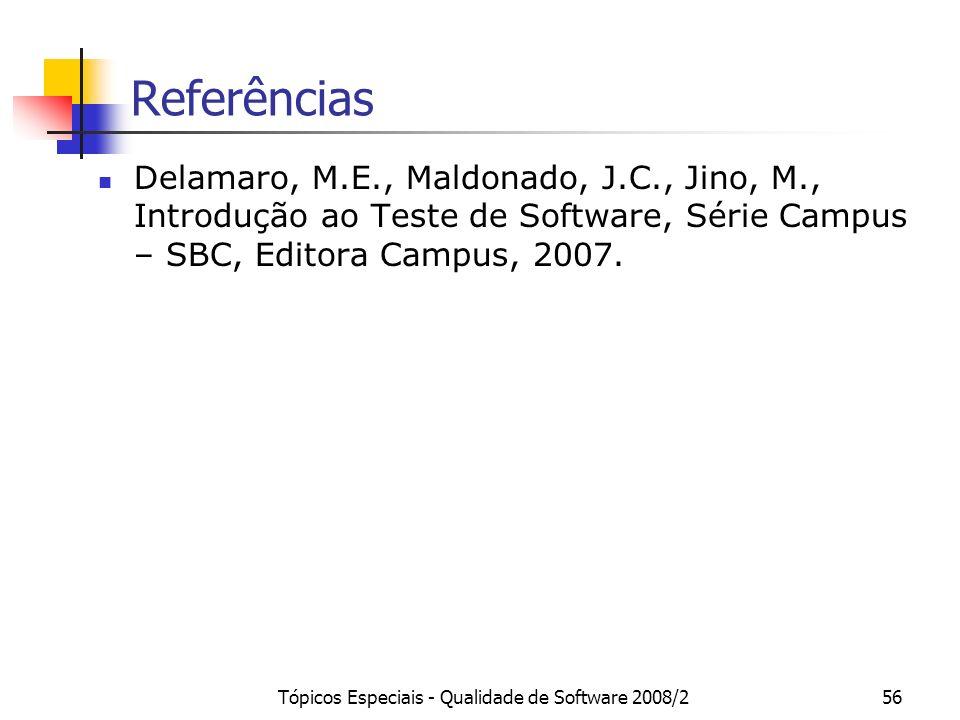 Tópicos Especiais - Qualidade de Software 2008/256 Referências Delamaro, M.E., Maldonado, J.C., Jino, M., Introdução ao Teste de Software, Série Campus – SBC, Editora Campus, 2007.