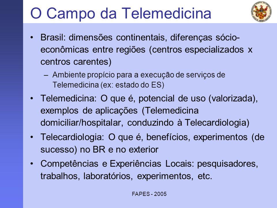 FAPES - 2005 O Campo da Telemedicina Brasil: dimensões continentais, diferenças sócio- econômicas entre regiões (centros especializados x centros care